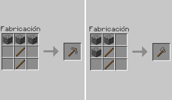 imagen donde podemos ver la forma correcta para hacer las herramientas básicas del primer día en Minecraft, el pico y el hacha.