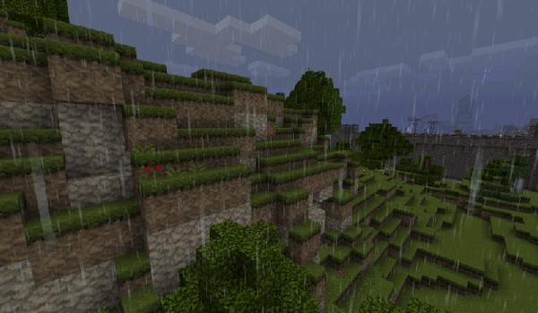 imagen de un paisaje visualizado con la textura auracraft 1.2.4