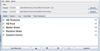 imagen del gestor del programa para usar texturas de alta definicion en Minecraft 1.2, su nombre es MC Patcher HD.