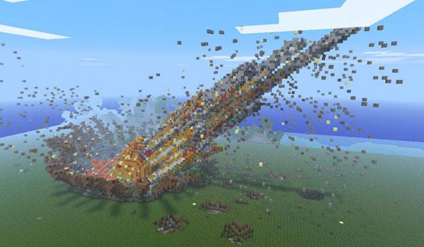 imagen del momento del impacto de un meteorito en Minecraft