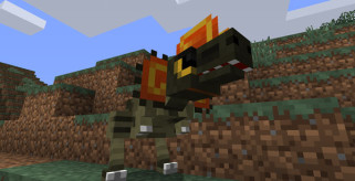 imagen de uno de los dinosaurios en minecraft con el mod fossil archeology 1.2.5