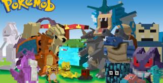 logotipo del mod pokemobs 1.2.5, donde aparecen algunos pokémons.