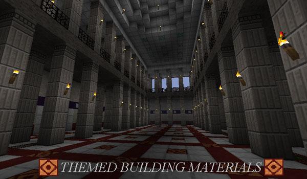 imagen del interior de un edificio decorado con el pack de texturas romecraft 1.7.2