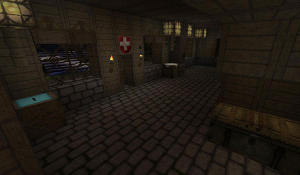 imagen del interior de una casa, decorada con el paquete de texturas para Minecraft, swiss rustic 1.2.5