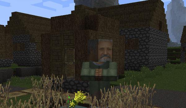 imagen de un aldeano, decorado con la textura swiss rustic texture pack 1.2.5
