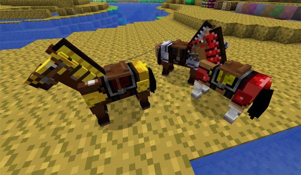imagen de los caballos de Minecraft decorados con las texturas de Terraria.