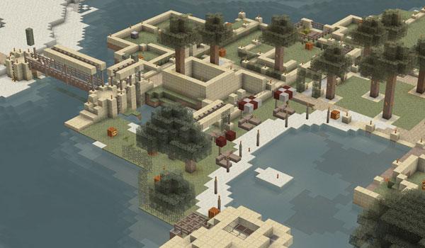 imagen tomada desde el aire, donde se ve un pueblo decorado con aza's arid texture 1.2.5