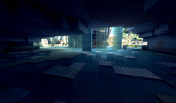 Cave in Minecraft, decorated by de Aza's Arid Texture Pack.