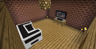imagen de una tele en minecraft, gracias al mod little blocks 1.2.5