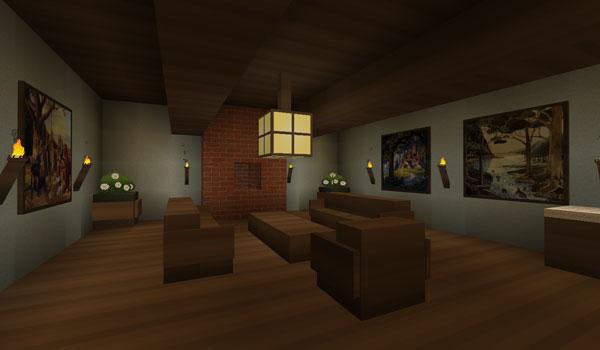 interiores de una casa de Minecraft, decorado con básico texture pack 1.2.5