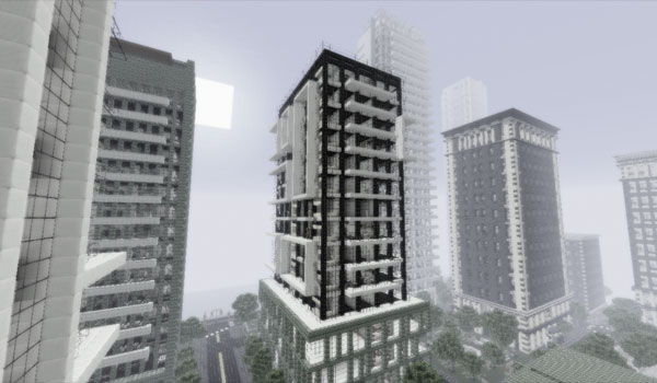 imagen de ejemplo del paquete chrome texture 1.2.5, donde vemos edificios de una ciudad decorados con esta textura.
