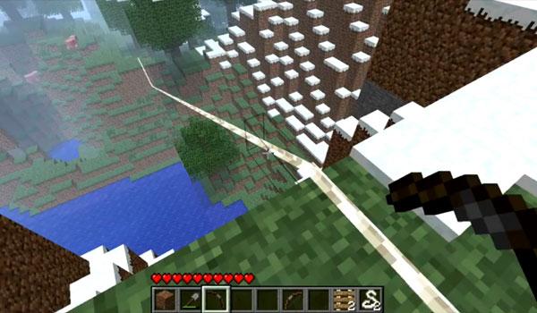 imagen donde vemos una tirolina en Minecraft, gracias al mod zipline 1.2.5