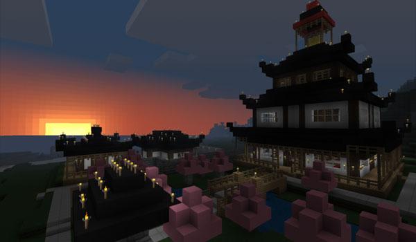 imagen de un gran edificio de estilo japonés, que usa las texturas coterie craft 1.11 y 1.10 para Minecraft.