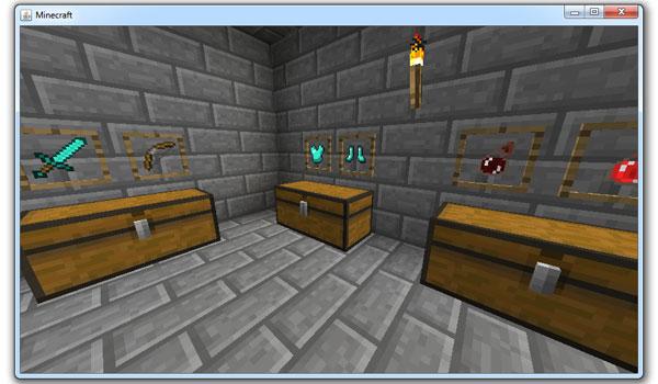 imagen donde vemos marcos o estanterías, que podrían formar parte de la futura versión de Minecraft 1.4.