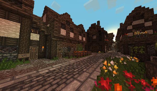 imagen de una calle y viviendas de Minecraft, usando las texturas SMP's Revival Texture Pack 1.7.2