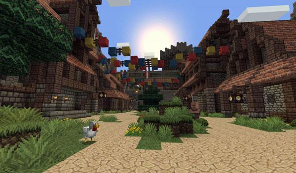interiores de la ciudad de Soledad de Skyrim, recreada en Minecratf, su nombre es Soledad Map 1.3.2