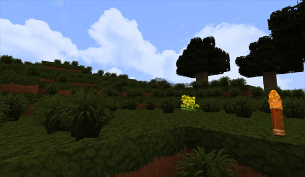imagen de un paisaje de una montaña de Minecraft, usando las texturas World of Warcraft Texture Pack 1.3.2
