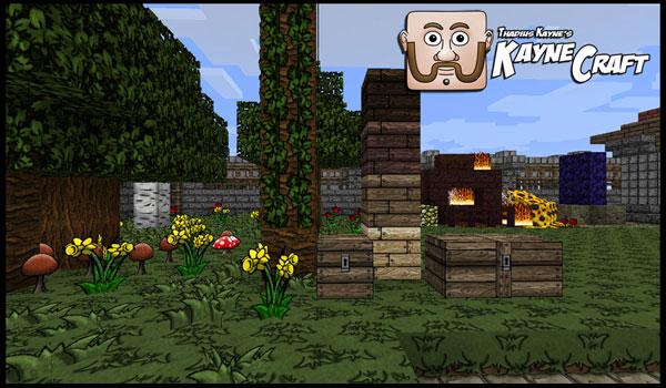 Imagen de muestra donde podemos ver varios bloques en un jardín, usando el paquete de texturas KayneCraft 1.8 y 1.7.