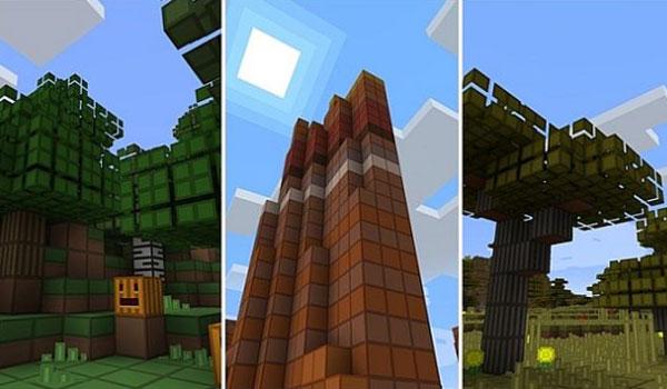 imagen compuesta por tres biomas de Minecraft, decorados con las nuevas texturas que nos proporciona el paquete de texturas oCd 1.15, 1.14 y 1.12.