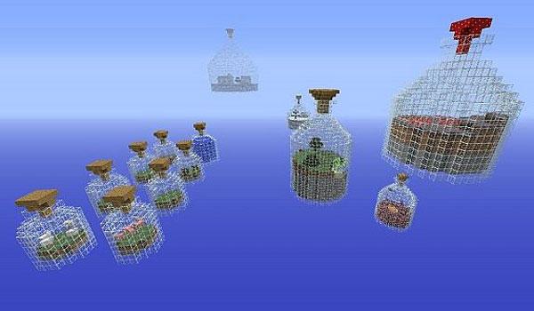 imagen donde vemos todas las botellas de cristal del mapa de supervivencia wolrd in a jar 1.4.2