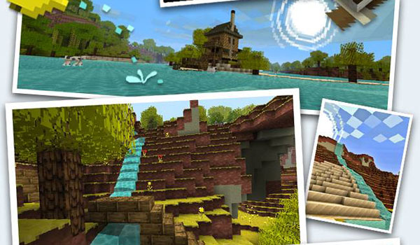 collage to the diferents views of jolicraft texture pack 1.14, 1.13 and 1.12.