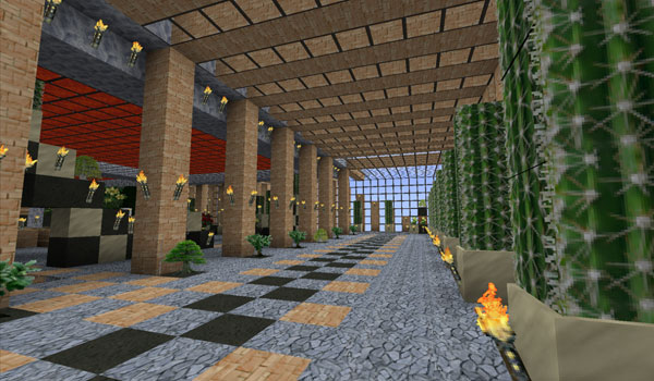 imagen del interior de un moderno edificio de Minecraft, usando las texturas kop photo realism 1.12 y 1.11.