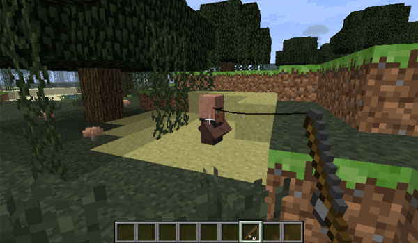 A villager on effect to Quicksand Mod 1.6.4