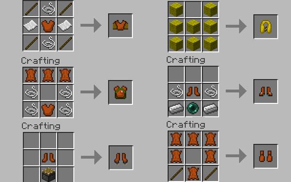 ejemplo de los primeros crafteos de la armadura del mod armor movement.