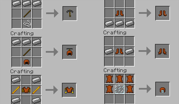 ejemplo número dos, de los crafetos de la nueva armadura con poderes, del mod armor movement.