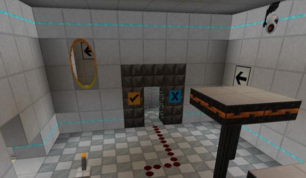 imagen de una habitación de muestra con varios elementos del paquete de texturas precisely portal 1.8.