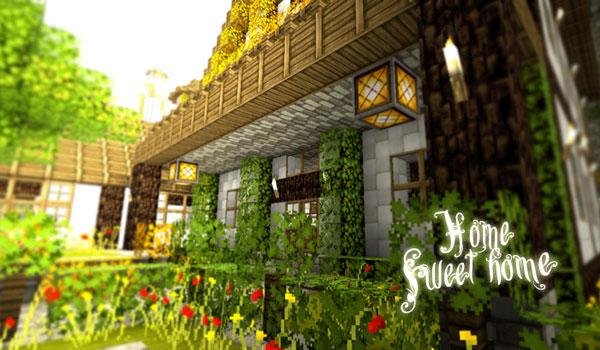 Imagen donde podemos ver una casas con con jardineras y flores, decorada con las texturas SummerFields Texture Pack 1.13, 1.12 y 1.11.