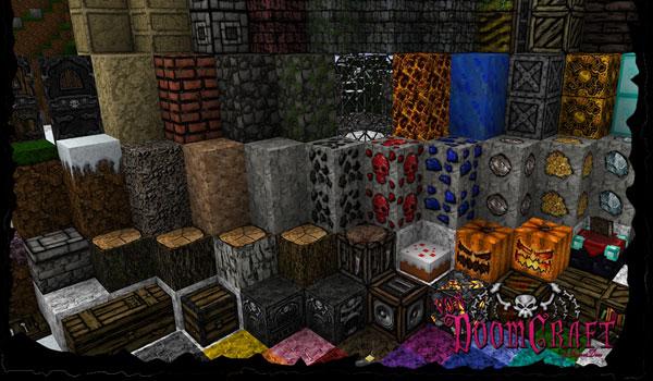 imagen de presentación de todos los bloques de Minecraft, con sus respectivas texturas del pack vondoomcraft texture pack.