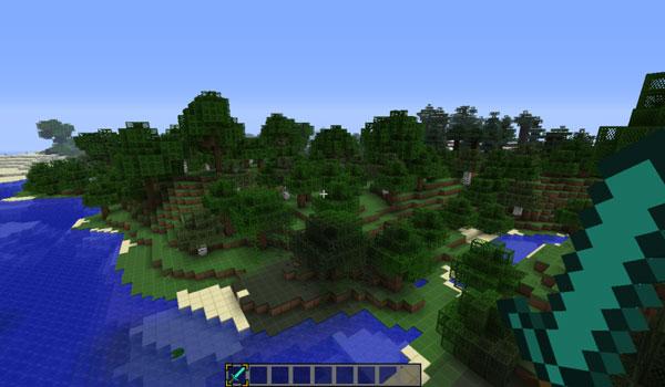 imagen de muestra de un paisaje de Minecraft, usando las texturas simplecraft 1.8