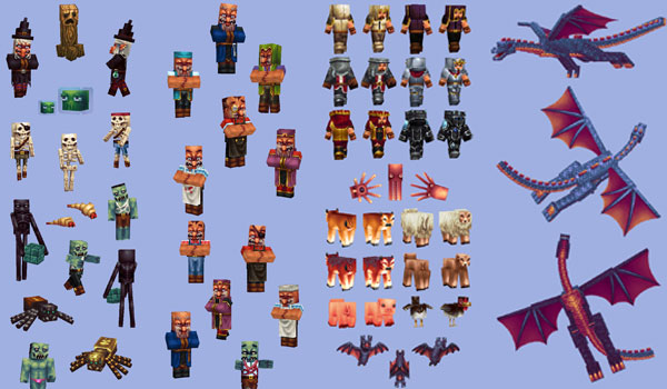 composite image, we see a lot of mobs with new textures pack wayukian.