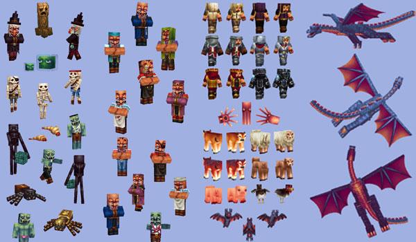 imagen compuesta, donde vemos una buena cantidad de mobs con las nuevas texturas de wayukian pack.