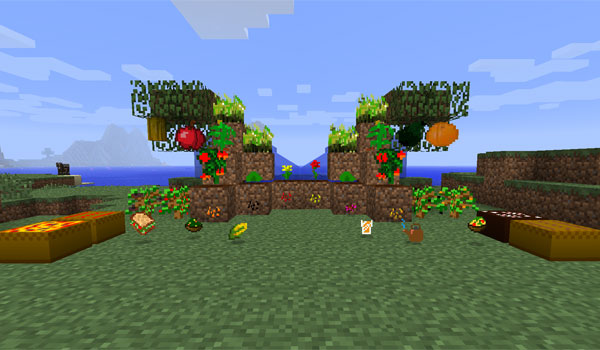 image where we exposed several new food mod, mo 'food and crops 1.5.2