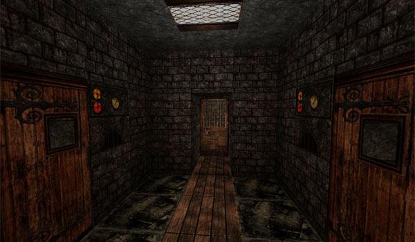 Imagen donde podemos ver un terrorífico pasillo, con tres puertas, decorado con las texturas Silent Hill HD 1.6.