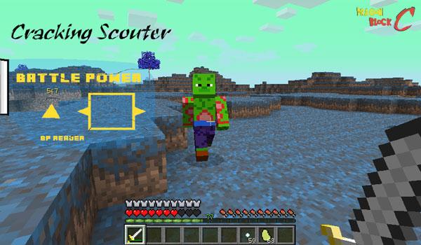 imagen donde vemos a un jugador usando los radares en el planeta Namek, gracias al mod dragon block c 1.6.2 y 1.6.4.