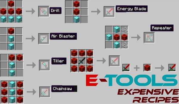 imagen de donde vemos varias de las recetas para los nuevos objetos que añade el mod e-tools 1.6.2