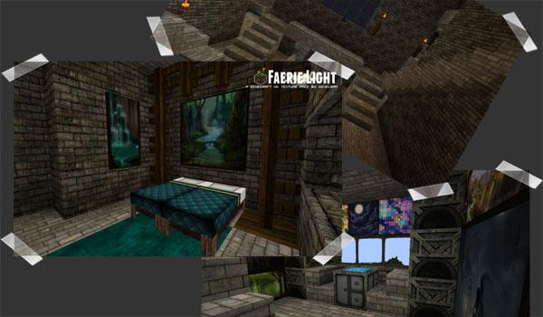 colage de imágenes de muestra, para ver diversos elementos decorativos de las texturas Faerielight 1.7.2