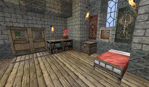 imagen del interior de una vivienda en Minecraft, usando las texturas chroma hills rpg 1.9 y 1.8.