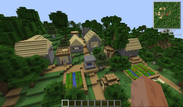 imagen donde vemos un poblado en lo alto de las montañas, gracias al mod more village biomes.
