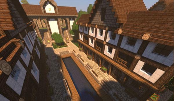imagen de una calle ancha o avenida rodeada de casas, usando las texturas ozocraft en Minecraft.
