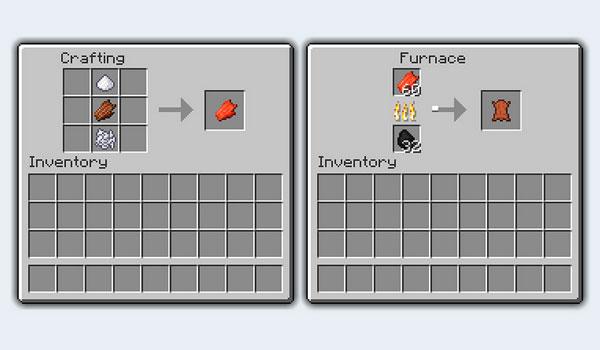 imagen donde podemos ver el proceso necesario para convertir la carne podrida de Minecraft, en cuero.