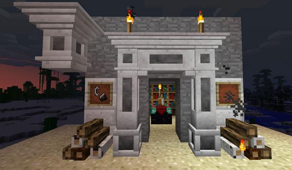 imagen de muestra donde podemos ver diversos bloques decorativos del mod decorative chimney 1.6.2