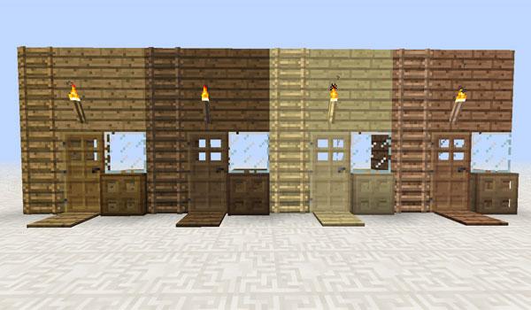 imagen donde vemos puertas, escaleras, placas y antorchas de diversos tipos de madera, gracias al mod multi colored things 1.6.2