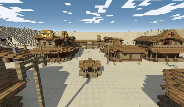 imagen de un pueblo que recrea el salvaje Oeste en esta aventura llamada, Desperado Adventure Map 1.7.2
