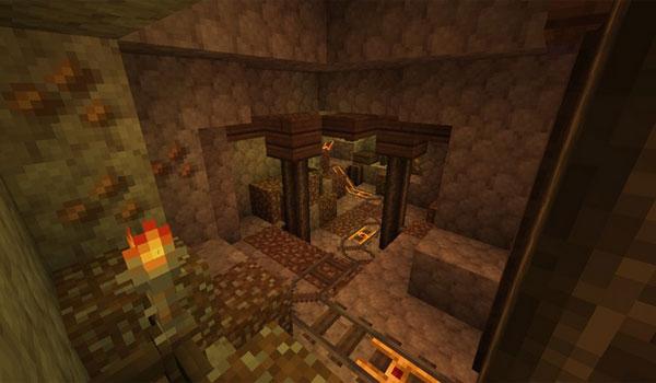 imagen del interior de una mina de Minecraft decorada con las texturas del pack chivalry 1.7.2.