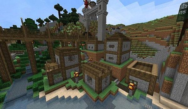 imagen de una zona con varias casas pequeñas, usando las texturas elveland 1.11.