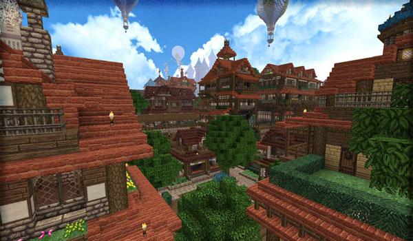imagen de una pequeña ciudad en Minecraft, usando las texturas rústicas del pack Halcyon Days 1.7.2.